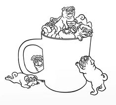 Pug, : Pug in a Cup Coloring Page