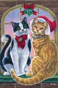 Mistletoe Cats Christmas House Flag Winter Holiday Kitty Santa Hat X Cat Clipart, Curious Creatures, House Flags, Illustrations, Christmas Cats, Christmas Pictures, Cool Cats, Weird Cats, Funny Cats