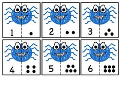 FREEBIE: Spider cut & match numbers 0-10