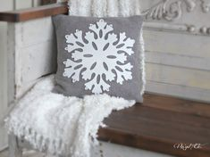 DIY Snowflake Pillow tutorial from a vintage wool blanket.  So pretty! {Christmas and Winter Decor idea}