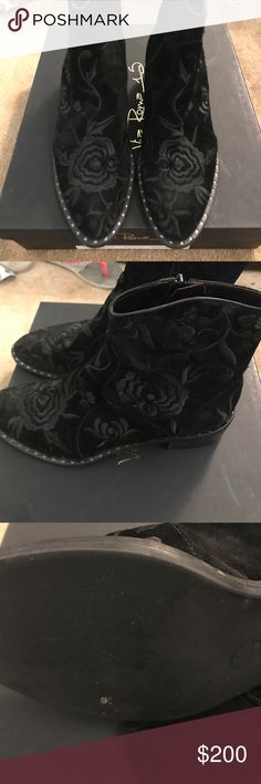 FABULOUS BLACK ON BLACK SUEDE FLORAL BOOTIES MAKE ME AN OFFER I CANT REFUSE SALE Don't get me started on how beautiful these boots are and I wish I could wear them they're just a little bit too big and so I feel sloppy  in them. They are black suede short boots with embroidered black flowers and studs along the outside of the sole . Brand new in box with a huge discount Bought these at a boutique that doesn't take anything back after two weeks.. please look at all the pictures so you can see…