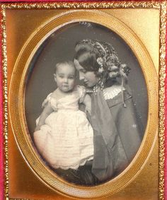 +~+~ Antique Photograph ~+~+ Stunning mother in a flowered bonnet gazing lovingly at her pretty baby.