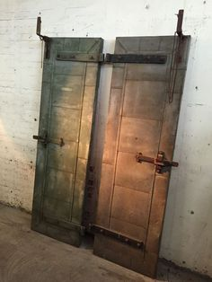 Vintage Pair INDUSTRIAL Tin Clad FIRE DOORS Forged Steel HARDWARE 1930s Hanging
