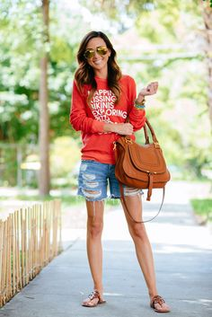 summer sweatshirt, distressed denim shorts, mirrored ray ban's (currently on sale!)