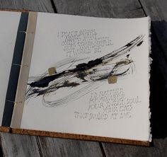 potlood, Parker Quink ink en bladmetaal Concertina Book, Artist Sketchbook, Sweet Soul, Penmanship, Handmade Books, Typography Letters, Mark Making, Collage, Book Art