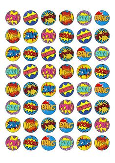 24 Stand Up Premium Edible Wafer Paper Superhero Retro Pow Zap Comic Book Style Cake Toppers Decorations Girl Superhero Party, Superhero Room, Zap Comics, Star Painting, Comic Book Style, Twin Birthday, Wafer Paper, Super Party, Baby Party