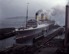 """raurrie: """" The White Star liner Majestic in Southampton. Colorized by Daryl LeBlanc. """""""