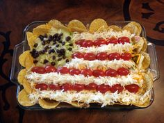 fourth of July layer dip flag