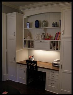 "Desk with lots of storage space from ""Creating the Perfect Home Office: Built-In Furniture"""