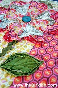 raw edge flower for picnic quilt