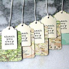 Recordatorio para boda separador en papel mapa personalizado