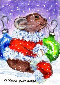 Original ACEO  Little Santa Pika - not a mouse  - Patricia Ann Rizzo #Miniature