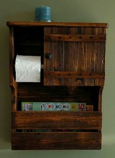 Magazine Rack, Toilet Paper Holder and Cabinet with Shelf made from Rustic Reclaimed and Repurposed Pallet Wood