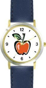 Discount Red Apple 1 - WATCHBUDDY® DELUXE TWO-TONE THEME WATCH - Arabic Numbers - Blue Leather Strap-Size-Children's Size-Small ( Boy's  The best bargains - http://greatcompareshop.com/discount-red-apple-1-watchbuddy-deluxe-two-tone-theme-watch-arabic-numbers-blue-leather-strap-size-childrens-size-small-boys-the-best-bargains