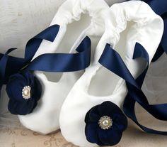 Bridal Flats - Bridal Ballerina Slippers in Ivory and Navy Blue Satin. $135.00, via Etsy.