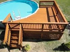 Corner deck for pool. Stairs would just have to be to the side instead