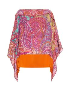 ETRO Paisley-Print Silk-Crepe Poncho. #etro #cloth #poncho