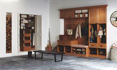 Mud Room with High ceiling, Built-in bookshelf, slate tile floors