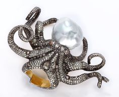 Sevan Bicakci Octopus Ring - 24-karat gold and sterling silver with hand-set diamonds & a massive hand-set pearl