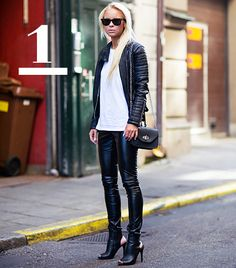 Tip: Soften up an all-leather ensemble with a comfy tee