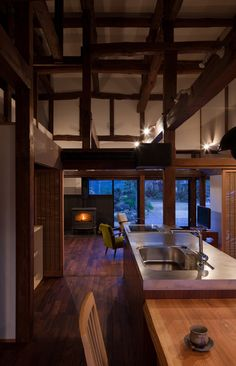 """Old Japanese timber house renovation"" Four generations in Chiba, Collaboration of more than 90 years over ""Project Overview"" ●Renovation project of housin. Japanese Style House, Traditional Japanese House, Traditional Exterior, Japanese Interior Design, Timber House, Home Renovation, Kitchen Renovations, House Remodeling, Renovation Design"