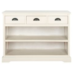 Display family photos or organize your cookbook collection on this versatile storage shelf, featuring 2 tiers, 3 drawers and a lovely white finish.