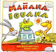 Manana, Iguana by Ann Whitford Paul. A Mexican story of the Little Red Hen! An Iguana throws a fiesta and her animal friends make excuses to not help her until the very end of the story. A fun read that introduces many basic Spanish words. Letter Of The Week, Letter I, Reggio Emilia, Basic Spanish Words, Teaching Spanish, Spanish Class, Preschool Spanish, Spanish Vocabulary, Spanish Activities