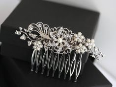 Bridal Hair Comb  Pearl and Crystal Hair clip by LuluSplendor, $79.00