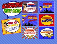 Wonder Woman Party  7 Party Signs Superhero by Krownkreation, $3.99