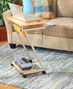 This Rolling Computer Desk is a convenient place to use and store your laptop. It easily moves from place to place on its 4 wheels, which can be locked into position!!!... ($24.98)... #TheLakeSideCollection  ~XOX 3/24/2016