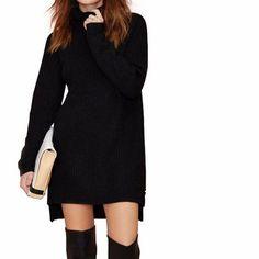 Solid Black Long Sleeve Ribbed Streetwear Turtleneck Sweater LAVELIQ