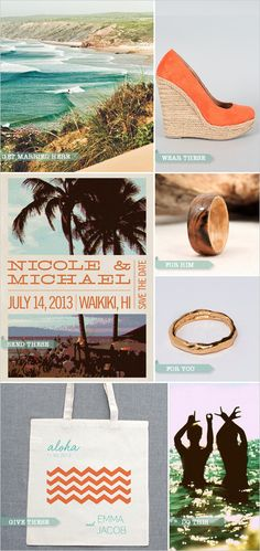 1. Get Married on the beah 2. Get married barefoot, and then wear these adorable braided espadrilles to your reception 3. Send out this beachy-vintage save the dates. 4. Give him this maple-wood ring 5. Wear this simple handmade 14k gold ring 6. Welcome guests with an Aloha Tote. Jump in the Ocean you are married. @Kristen Phillips makes me think of you!