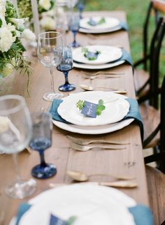 blue and white wedding table decor http://trendybride.net/restoration-hardware-wedding-styled-shoot/ {trendy bride}