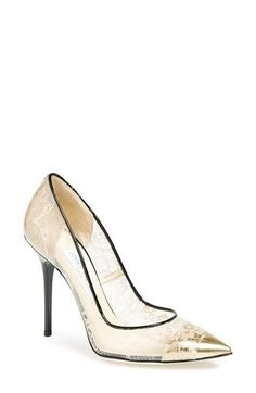 "Free shipping and returns on Jimmy Choo 'Toga' Lace Pump (Women) at Nordstrom.com. <p><B STYLE=""COLOR:#990000"">Pre-order this style today! Add to Shopping Bag to view approximate ship date. You'll be charged only when your item ships.</b></p><br>Vintage romance meets future-cool sophistication in a pointy-toe pump that combines delicate floral lace and transparent Perspex® construction for a fashion-forward mashup."