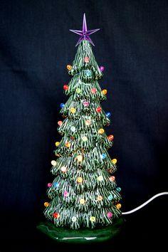 ceramic christmas tree medium slim tree ceramic centerpiece holiday decor tree vintage - Ceramic Christmas Lights