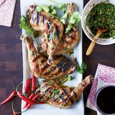 Thai Chicken with Hot-Sour-Salty-Sweet Sauce Smoky grilled chicken is delicious with a spicy, garlicky Thai dipping sauce. Sauce Recipes, Wine Recipes, Chicken Recipes, Cooking Recipes, Dishes Recipes, Turkey Recipes, Healthy Thai Recipes, Asian Recipes, Asian Foods