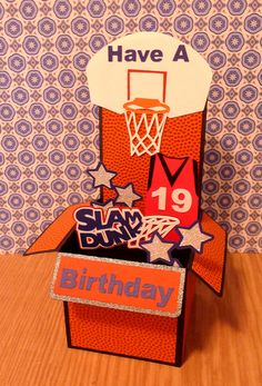 Basketball Birthday Box Card using Cricut (All Sports Cartridge) and SVG Cuts.