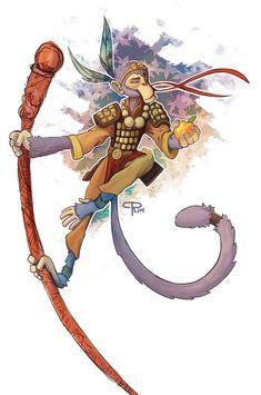 Monkey Art, Monkey King, Japanese Monkey, Goblin Art, Monkey Illustration, Martial, Monkey Tattoos, King Tattoos, Journey To The West