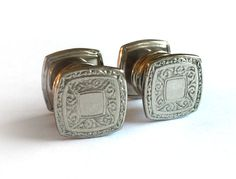 1920's Art Deco Cufflinks / Engraved Snap by RedRavenCollectibles
