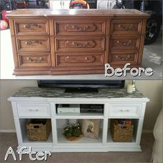 Dresser to Entertainment center. Before and after.