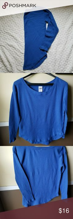 Victoria's Secret PINK thermal shirt top blue XS **Blue thermal from VS PINK. Solid color plus PINK dog logo in bottom corner.** PINK Tops Tees - Long Sleeve