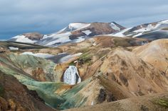 A waterfall in Landmannalaugar, in the Highlands of Iceland  Photographed by Pascal PETIT