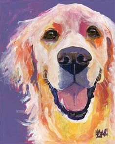 Golden Retriever Art Print of Original Acrylic Painting - 8x10
