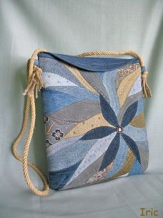 blue applique bag