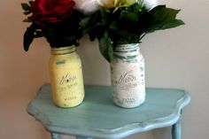 Table and mason jars for sale $5 on FB: Beach Blues Cottage Chic Furniture