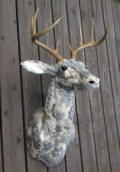 Beautiful Fabric Upholstery Deer Faux Taxidermy from the shop StrangeProportions on Etsy.com