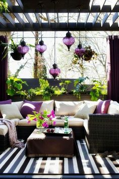 holz glas leuchten pflanzen Überdachte Terrasse modern