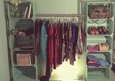 Closet Pallet boxes to make an original wardrobe at home, Pallet Boxes, Wood Boxes, Closet Bedroom, New Room, Sweet Home, Room Decor, Decoration, Modern, How To Make