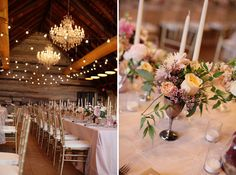 Adore the Chiavari chairs, banquet tables, and whimsical string lights contrasted with the elegant chandeliers