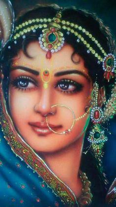 Oil painting - the living art! Radha Krishna Pictures, Radha Krishna Photo, Radha Krishna Love, Krishna Photos, Hare Krishna, Indian Women Painting, Indian Art Paintings, Indian Artist, Indiana